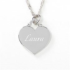Personalized Sterling Silver Heart Necklace - 10065