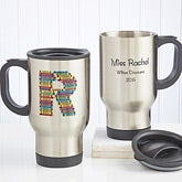 Personalized Teacher Travel Mug - Crayon Letter - 10086
