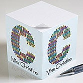 Personalized Teacher Notepad Cubes - Crayon Letter - 10089
