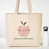 Personalized Apple Tote Bag for Teachers - 10200