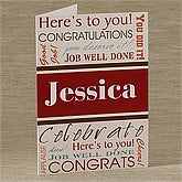 Personalized Congratulations Greeting Cards - Here's To You - 10204