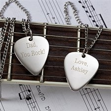 Personalized Silver Guitar Pick Necklace - 10230