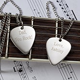 Personalized Silver Guitar Pick Pendant With 24 Chain