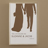 Personalized Bride & Groom Silhouette Art - Perfect Couple - 10244
