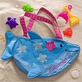 Personalized Dolphin Beach Tote Bag with Beach Toy Set - 10309