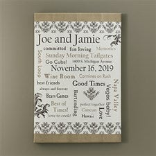 Personalized Wedding Gift Canvas Art - Life Together - 10354