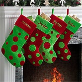Personalized Christmas Stockings - Red & Green Polka Dots - 10408