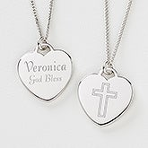 Personalized Silver Heart Cross Necklace - Love & Faith - 10437