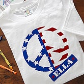American Flag Peace Symbol Personalized Kids Clothing - 10454