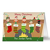 Personalized Christmas Cards - Christmas Stocking Family Characters - 10556