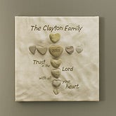 Personalized Christian Art - Heart Rock Cross - 10564