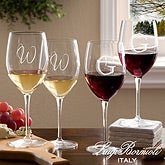 Personalized Wine Glasses with Initial Monogram - Bormioli Rocco - 10566-N