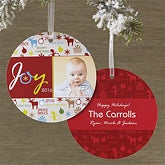 Personalized Hanging Ornament Photo Christmas Cards - Joy To The World - 10585
