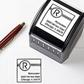 Personalized Address Stamp - Square Initial - 10657