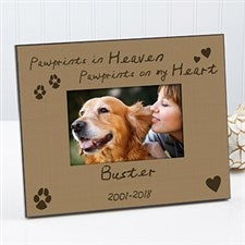 Personalized Pet Memorial Picture Frame - Pawprints in Heaven - 10682