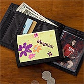 Personalized Girl's Wallet - Flowers - 10700