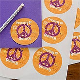 Personalized Girls Stickers - Peace Sign - 10714