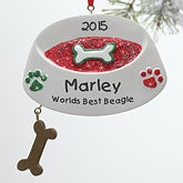 Personalized Dog Christmas Ornaments - Dog Bowl - 10761