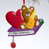 Personalized Christmas Ornaments for Teachers - Teddy Bear - 10774