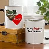 Personalized Military Coffee Mugs - Hearts & Camo - 10820