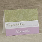 Personalized New Baby Greeting Cards - Floral Damask - 10825