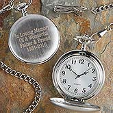 Personalized Silver Pocket Watch - In Memory  - 10832