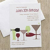 Personalized Birthday Invitations - Raise Your Glass - 10841