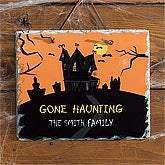 Personalized Halloween Decorations - Haunted House Slate Plaque - 10850