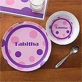 Personalized Girls Dinner Plate - Polka Dots