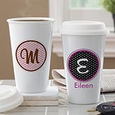 Personalized Travel Tumbler - Polka Dot Monogram - 10882