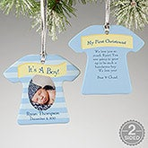 Personalized Baby Photo Christmas Ornaments - It's A Boy or Girl - 10925