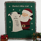 Personalized Christmas Afghan - Santa's List - 10943