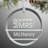 Personalized Glass Wedding Christmas Ornaments - Mr & Mrs - 10952