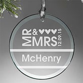 Personalized Wedding Christmas Ornaments - Mr & Mrs - 10952
