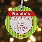Personalized Christmas Ornaments - Gift Wishlist - 10958