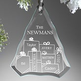 Presents Under The Tree Engraved Glass Ornament