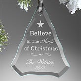 Personalized Glass Christmas Ornaments - Believe In The Magic - 10971