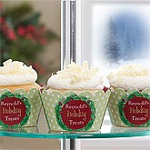 Personalized Holiday Cupcake Wrappers - Christmas Wreath - 10997