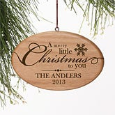 Personalized Wood Christmas Ornaments - Merry Little Christmas - 11001