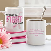 Personalized Pink Ribbon Breast Cancer Awareness Coffee Mugs - Find A Cure - 11023
