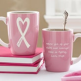Personalized Breast Cancer Awareness Coffee Mug - Courage & Strength - 11025