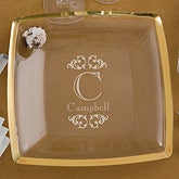 Engraved Monogram Personalized Serving Platter - Gold Trim