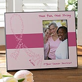 Personalized Pink Ribbon Breast Cancer Awareness Picture Frame - Never Give Up - 11035