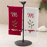 Holiday Mistletoe Embroidered Hand Guest Towel Set
