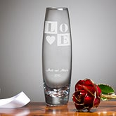 Gold Rose & Personalized Bud Vase - Love Blooms Eternal - 11133