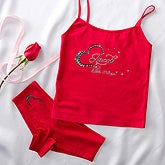 Personalized Rhinestone Heart Red Camisole and Shorties - 11137