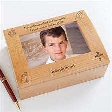 Personalized Boys First Communion Wooden Photo Box - The Day the Lord has Made - 11232