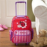 Personalized Girls Rolling Luggage - Ladybug - 11238
