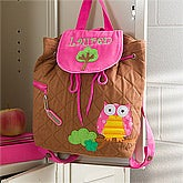 Sweet Owl Embroidered Backpack