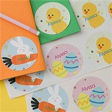 Personalized Easter Stickers - Easter Eggs, Easter Bunny & Chicks - 11315